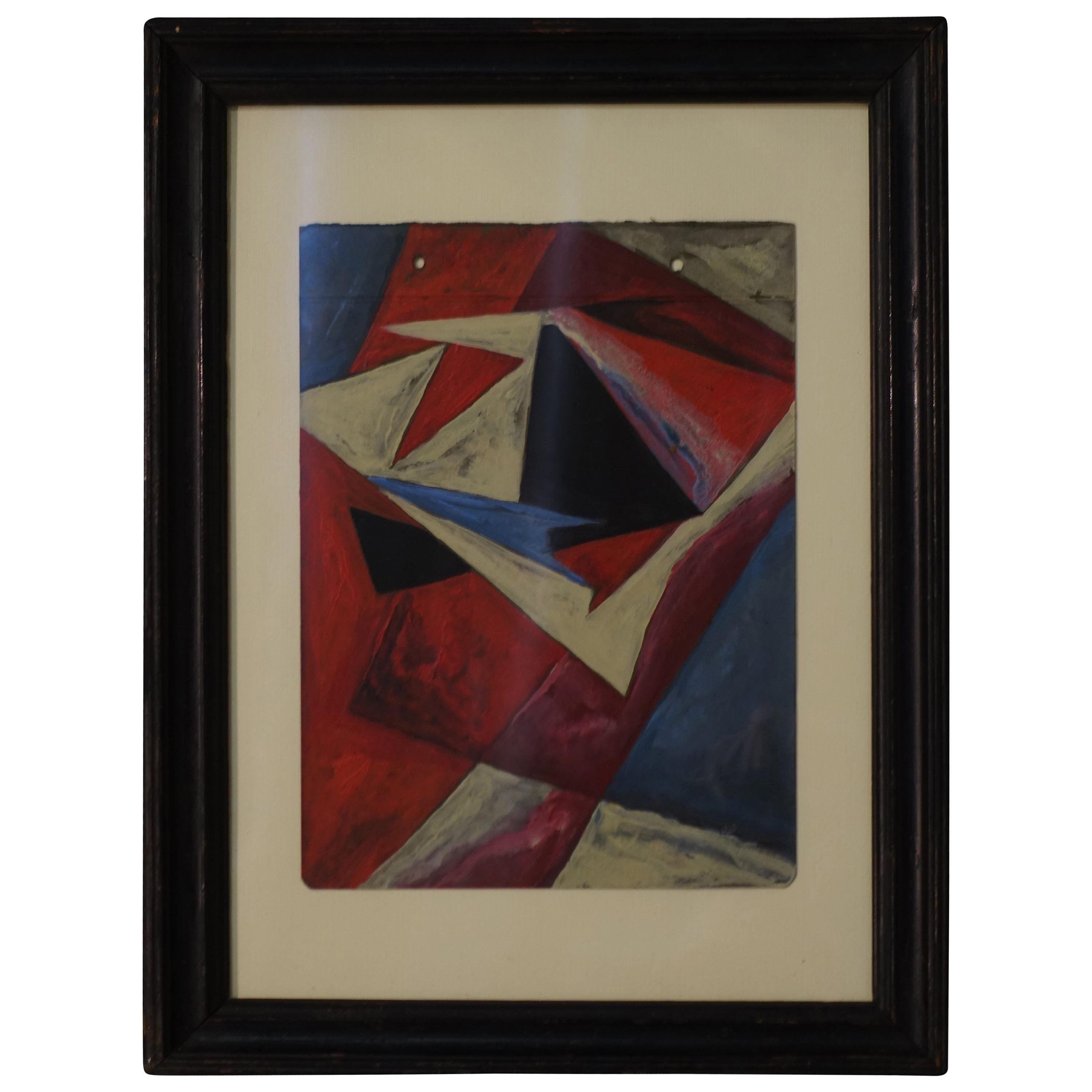 Red, Cream, Black, Blue Russian Abstract Painting, 1930s