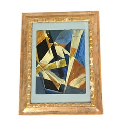 Blue Background With Rust Color Russian Abstract Painting, 1930s