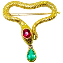 Russian Antique Ruby & Emerald Serpent Brooch Signed K. Faberge, Moscow, c. 1900