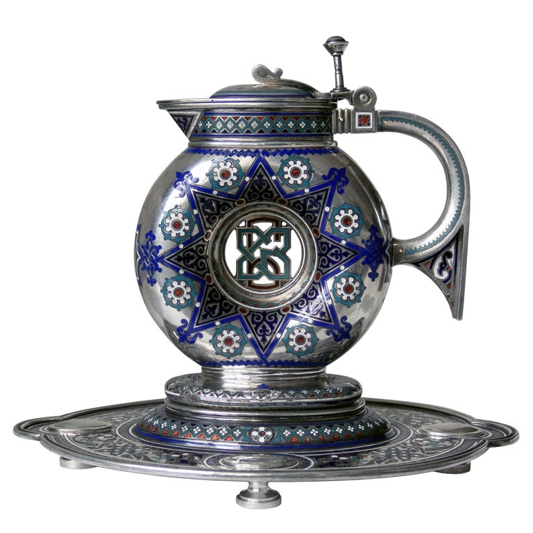 Russian Empire Russian Antique Silver and Enamel Jug on Stand For Sale
