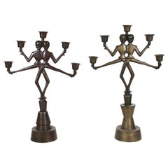 Russian Art Deco Heavy-Cast Bronze Candelabras with Dancing Cossack Acrobats