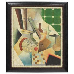 Russian Artist Chiokine Art Deco Cubist Gouache and Collage on Board Painting