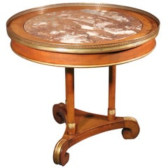 Russian Baltic Brass Bound Marble Top Empire Style Center Occasional Table
