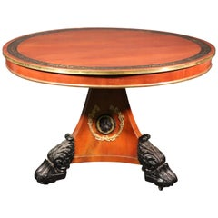 Russian Baltic Brass Inlaid Bronze Mounted Center Table with Lions and Paw Feet