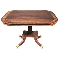 Russian Baltic Rosewood Boulle Brass Inlaid Center Occasional Card Table C1820