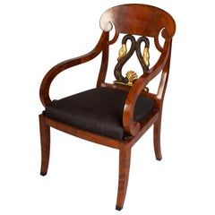Russian Biedermeier Style Mahogany Armchair with Gilded Swan Back Detail