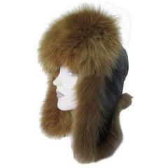 Russian Black Leather Fox Fur Trapper Hat