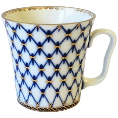 Russian Blue and Gold Coffee or Tea White Porcelain Cup