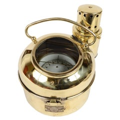 Vintage Nautical Lamp Russian Brass Binnacle Compass Made in the 70s