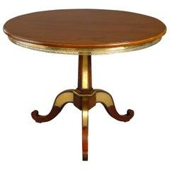 Russian Brass-Inlaid Mahogany Gueridon Table