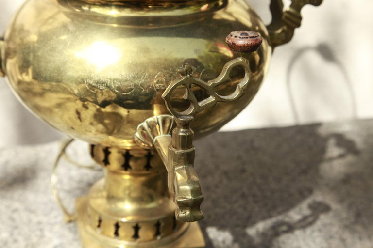 Russian Brass Samovar with Handles and Adapted as a Lamp, Late 19th Century For Sale 1