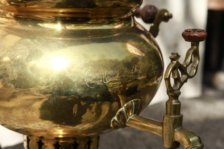 Russian Brass Samovar with Handles and Adapted as a Lamp, Late 19th Century For Sale 3