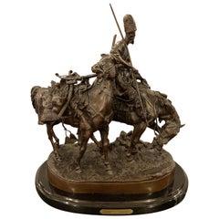 Russian Bronze Kazak Statue on a Horse after Eugene Alexandrovich Lanceray