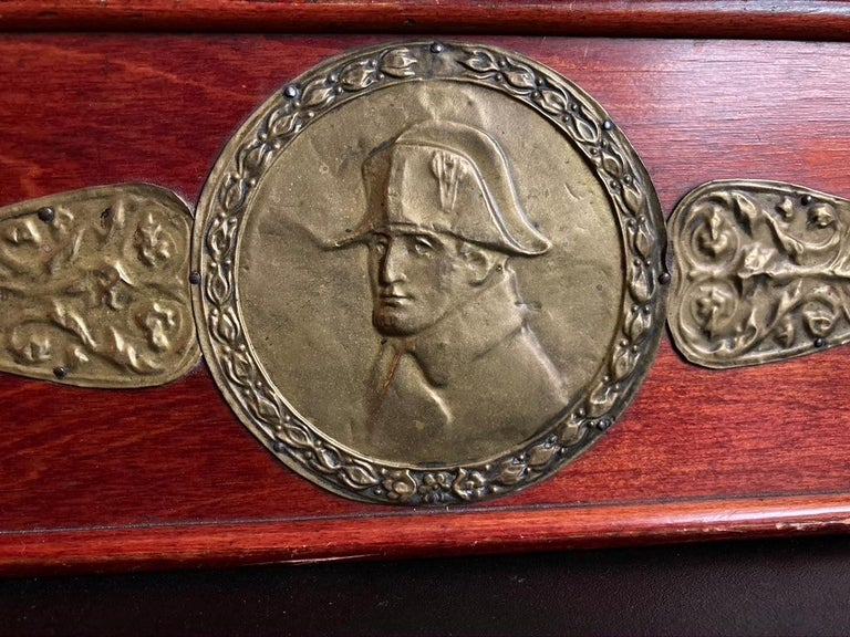 Repoussé Russian Centennial Wood and Brass Box with Portrait of Napoleon1 For Sale