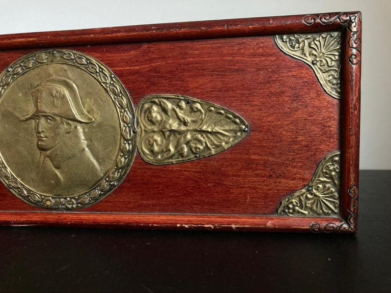 20th Century Russian Centennial Wood and Brass Box with Portrait of Napoleon1 For Sale