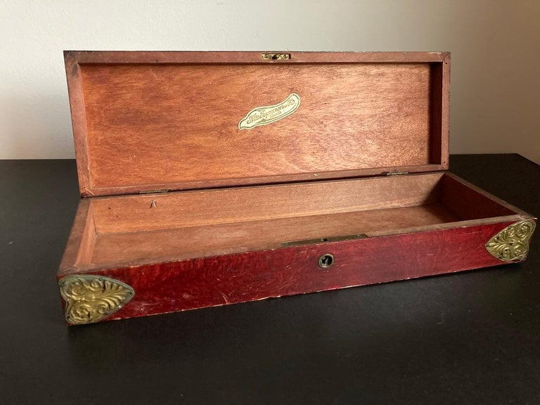 Russian Centennial Wood and Brass Box with Portrait of Napoleon1 For Sale 2