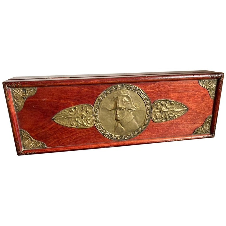Russian Centennial Wood and Brass Box with Portrait of Napoleon1 For Sale