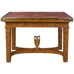 Russian Centre Table in Elm Root Topped with Porphyry and Bronze, circa 1830