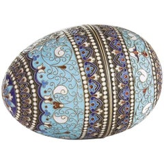 Russian Cloisonné Egg Rose, Moscow, circa 1910 Silver Plated