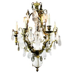 Russian Cristal De Roche and Gilt Bronze Chandelier
