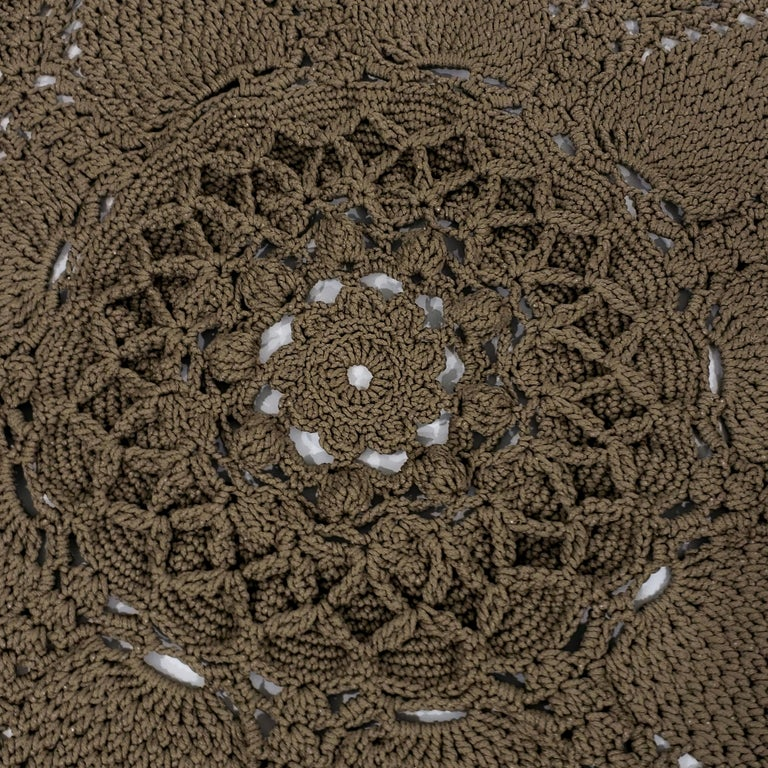 Russian Crochet Round  Layered Rug, Three Dimensional Textile Tan Polyester Cord In New Condition For Sale In Milford, DE