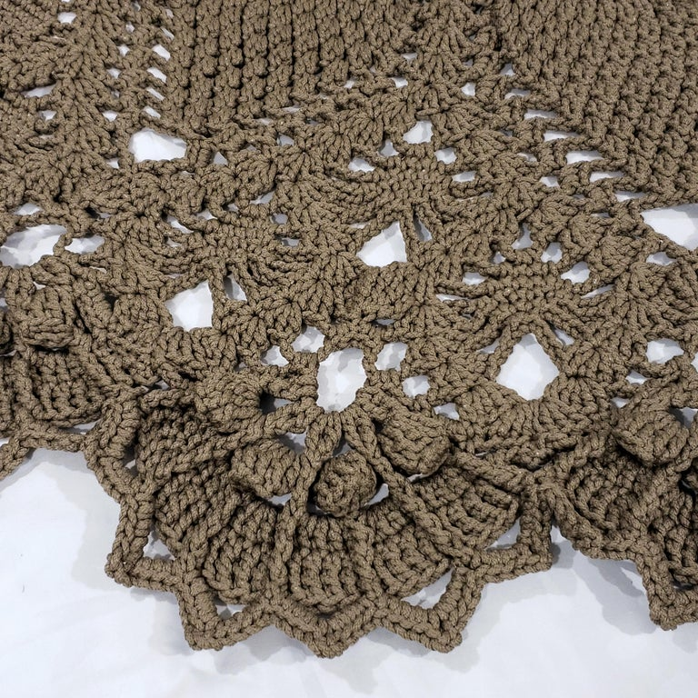 Women's or Men's Russian Crochet Round  Layered Rug, Three Dimensional Textile Tan Polyester Cord For Sale