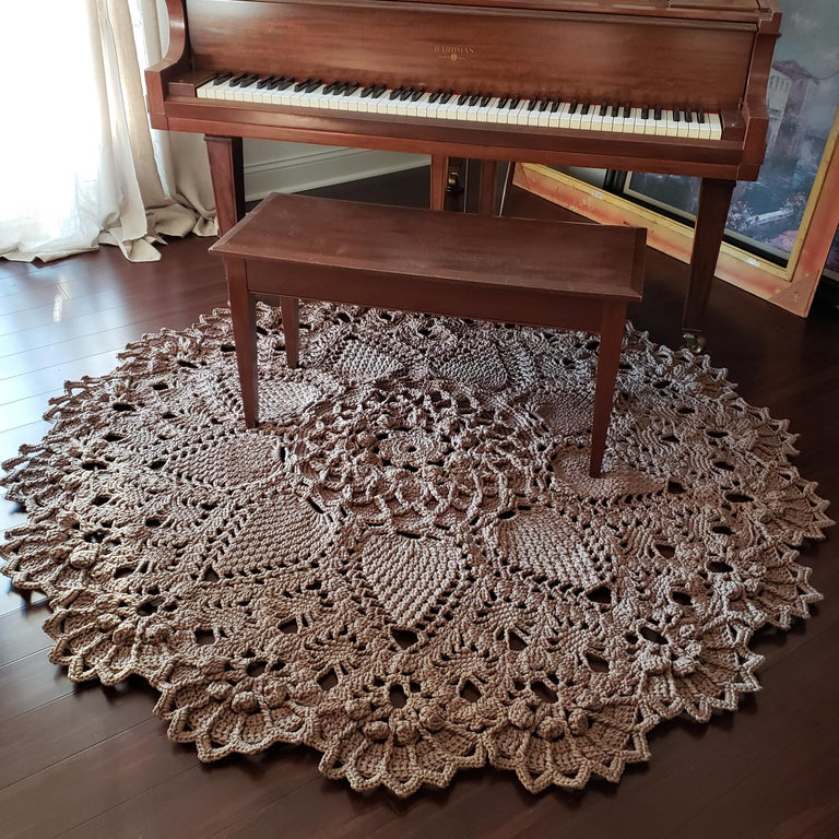Russian Crochet Round  Layered Rug, Three Dimensional Textile Tan Polyester Cord For Sale 2