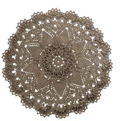 Russian Crochet Round  Layered Rug, Three Dimensional Textile Tan Polyester Cord