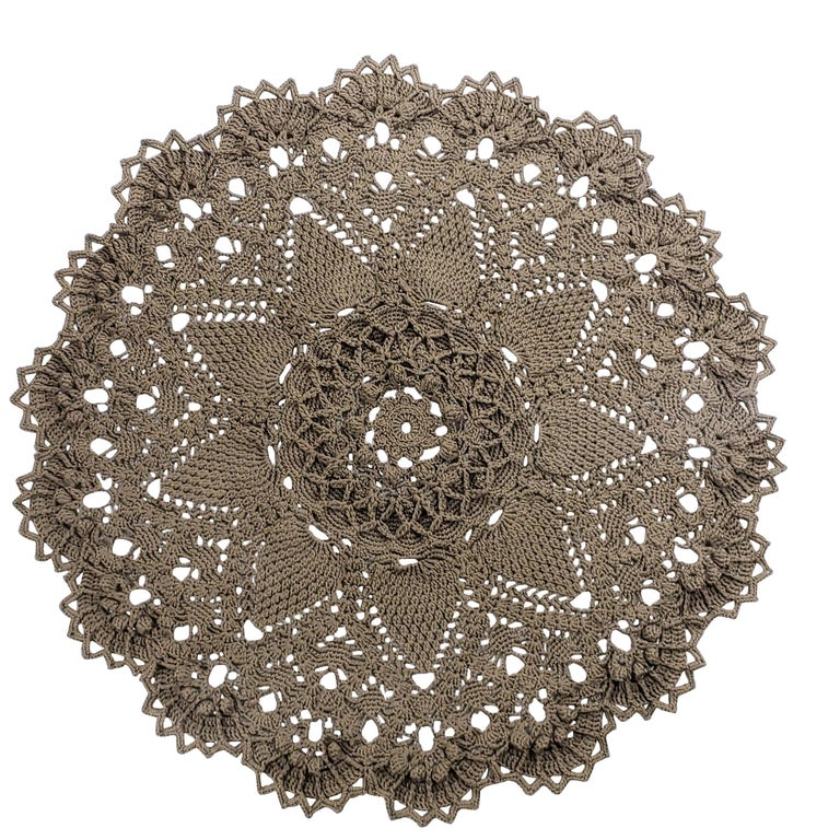 Russian Crochet Round  Layered Rug, Three Dimensional Textile Tan Polyester Cord For Sale