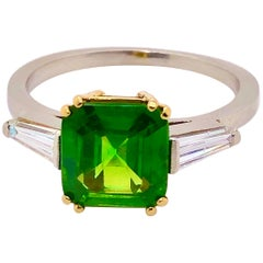 Russian Demantoid 2.49 Carat and Diamond Ring