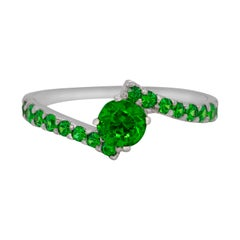 Russian Demantoid Garnet 14 Karat Gold Engagement Ring