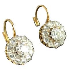 Russian Diamond 14 Karat Gold Classic Flower Form Dormeuses Earrings, 1890-1910