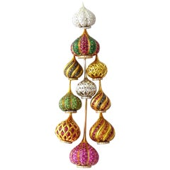 Russian Dome Pendant in 18 Karat White, Yellow and Pink Gold Set with Diamonds