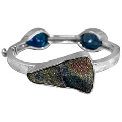 Stephen Dweck Russian Druzy & Blue Topaz Open and Close Bangle