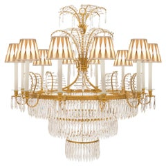 Russian Early 19th Century Neoclassical Style Ormolu and Crystal Chandelier
