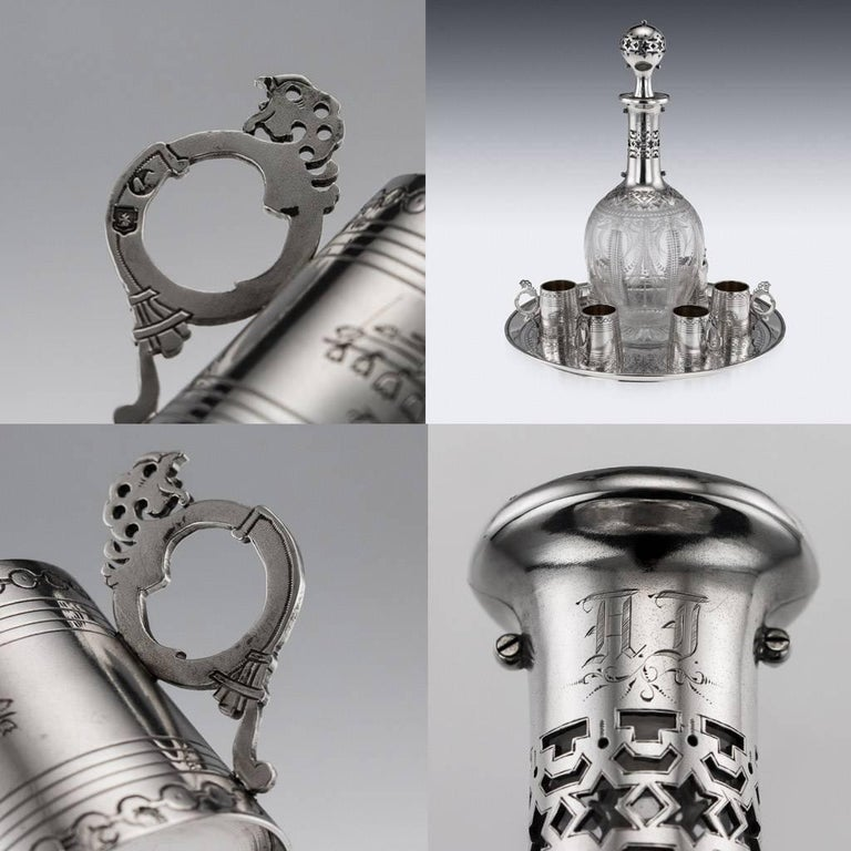 Russian Eight-Piece Silver and Glass Vodka Set, circa 1880 For Sale 6