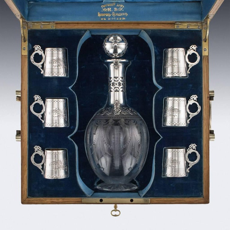 Russian Eight-Piece Silver and Glass Vodka Set, circa 1880 In Good Condition For Sale In London, London