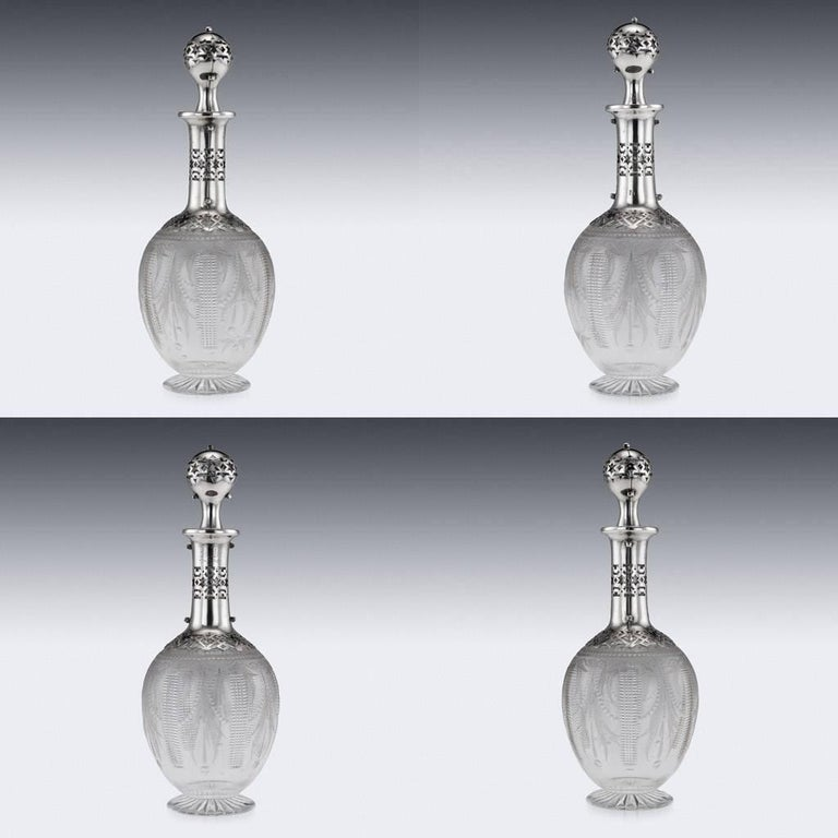 19th Century Russian Eight-Piece Silver and Glass Vodka Set, circa 1880 For Sale