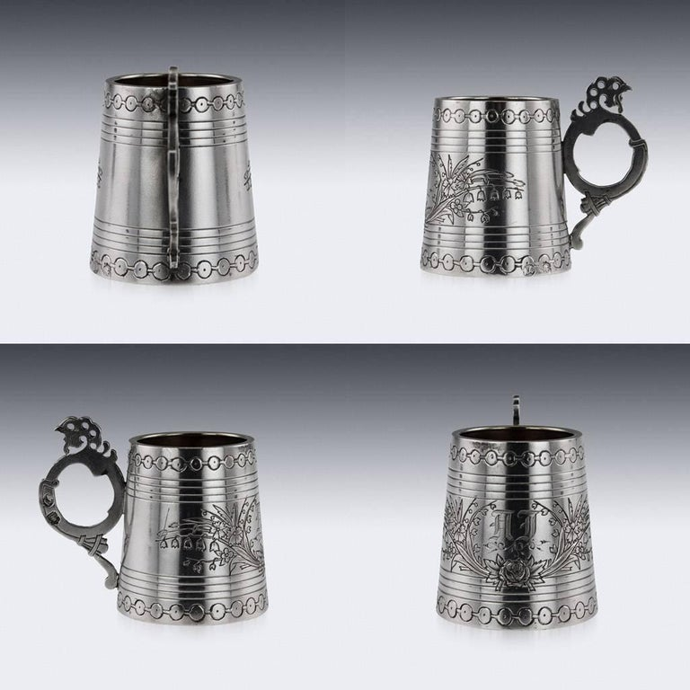 Russian Eight-Piece Silver and Glass Vodka Set, circa 1880 For Sale 1