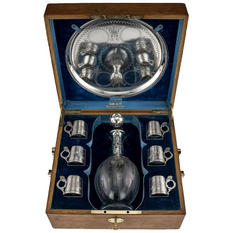 Russian Eight-Piece Silver and Glass Vodka Set, circa 1880 For Sale