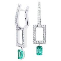 Russian Emerald and Diamond 18K Gold Dangle Earrings