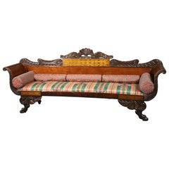 Russian Empire Brass Boulle Inlaid Mahogany and Satinwood Paw Footed Sofa