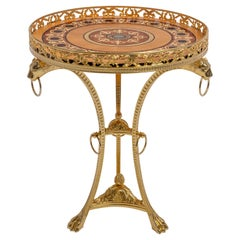 Russian Empire Brass Microfusion Side Table Real Gold 23 3/4 Plated, Inlayed Top