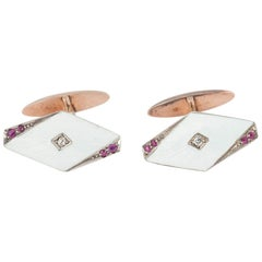 Art Nouveau Cufflinks 14 Karat Gold, Diamond, Ruby & Enamel, Russian circa 1890