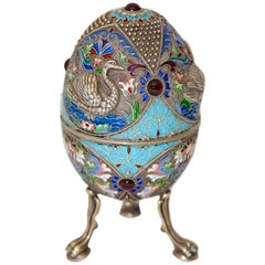 Russian Faberge Style Cloisonne Enamel Egg. 84 Silver H3 'NZ'