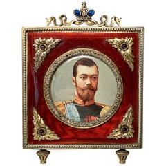 Russian Faberge Style Rose Cut Diamond Sapphire Ruby Enamel Picture Frame