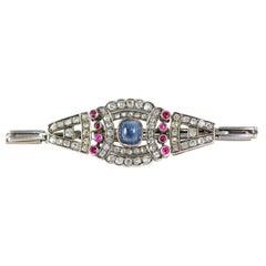 Russian Flexible Sapphire Diamond & Ruby Bracelet