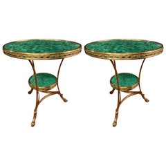 Russian Gilt Bronze and Malachite Gueridon or Bouilliotte End Table, a Pair