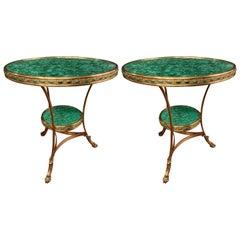 Russian Gilt Bronze and Malachite Gureidon or Bouilliotte End Table, a Pair