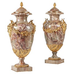 Russian Gilt Bronze Mounted Veined Marble Pair Vases